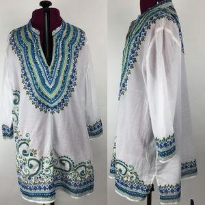 Chico's Embroidered Boho Tribal Tunic Shirt Sz 2